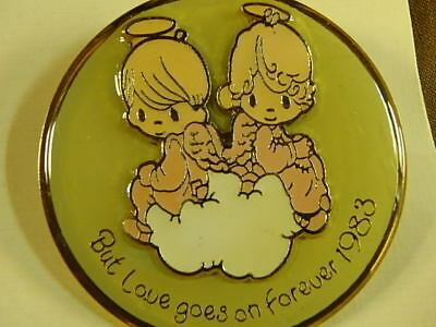 """Precious Moments Pin """"But Loves Goes On Forever"""" in 1983, 1 1/2"""" dia."""
