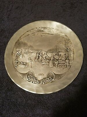 Wendell august pewter plate 9 inches The First Thanksgiving 1621 dated 1973