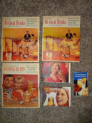 Rare Lot of Vintage Detroit News News Posters Mixed Drink Recipes - Bar Guides