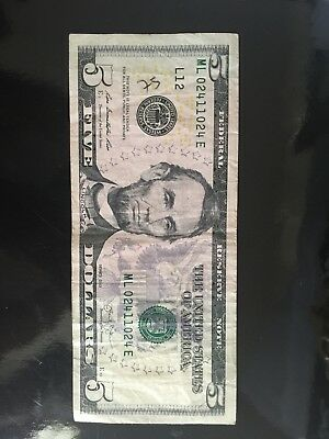 Fancy Serial Number $5 Triple Bookend Sn# Ml 02411024 E 2013 Series