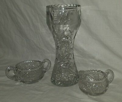 American brilliant cut glass Vase Dasies Sugar bowl pour Rare Very Nice Etched