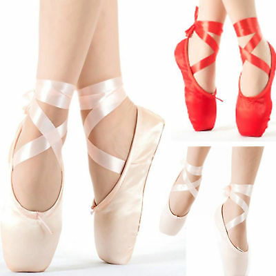 Red /Pink Ballet Dance Toe shoes Professional Ladies Satin Pointe Shoes Silk