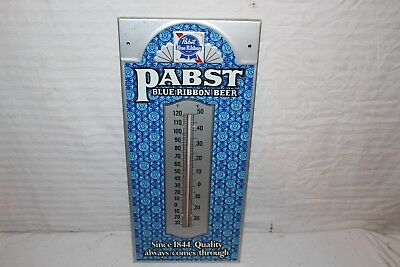 """Vintage 1950s Pabst Blue Ribbon Beer Gas Oil 21"""" Embossed Metal Thermometer Sign"""