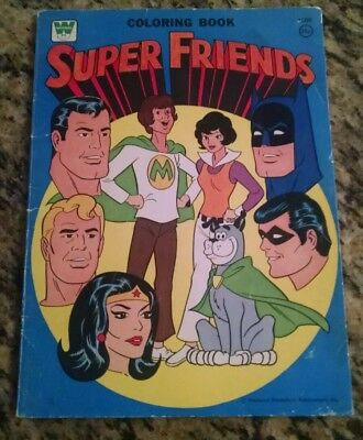 Vntg 1975 SUPER FRIENDS TV SHOW Coloring Book BATMAN, WONDER WOMAN, AQUAMAN