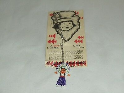 Vintage Native American Seed Bead Doll Necklace St. Joseph's Indian School NOS