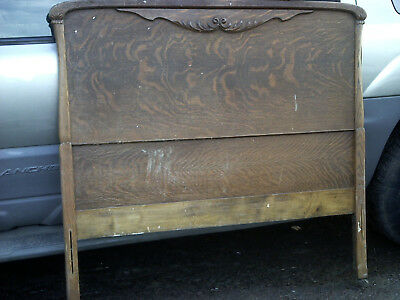 Single bed old oak head board bottom & side rails