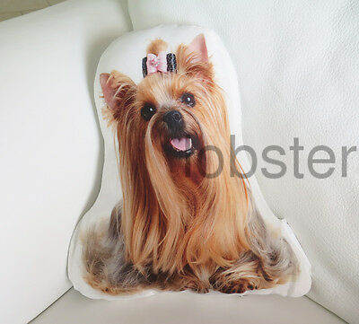 """YORKSHIRE TERRIER YORKIE DOG PILLOW Photograph on fabric 14"""" w zipper cover SALE"""