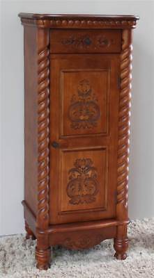 Hand Carved Indoor 2-Drawer Tall Wood Cabinet [ID 107681]