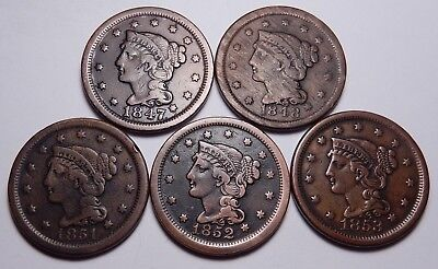 Large cent/penny quintet group collection 1847 1848 1851 1852 1853 nice+