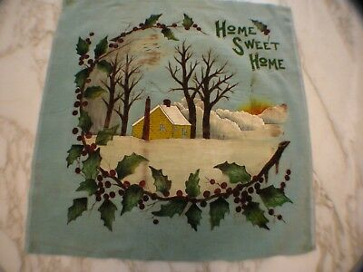 ANTIQUE HAND-PAINTED ROBINS EGG BLUE VELVET PANEL CABIN 1920s
