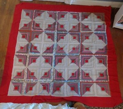 Vintage Antique Quilt Top Hand Sewn Retro Fabric Detailed Work 86x86 Full Size