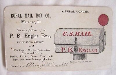 Vintage 1901 Mail Box Card Trade Marengo Il Post Office Postmaster Advertising