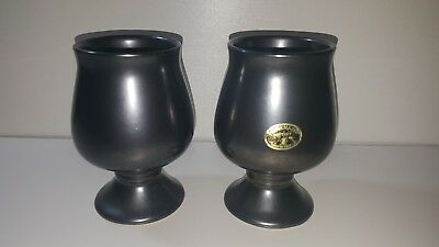 Prinknash pottery gunmetal black set of 2 cup chaliss made in england