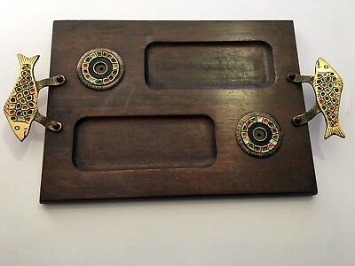 Israeli Enameled Brass Mounted Wooden Bagel Serving Tray Fish Handles Wood Tray