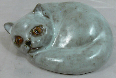 Nice Andersen Studio Art Pottery Curled Up Kitty Cat Figurine, Maine, Signed