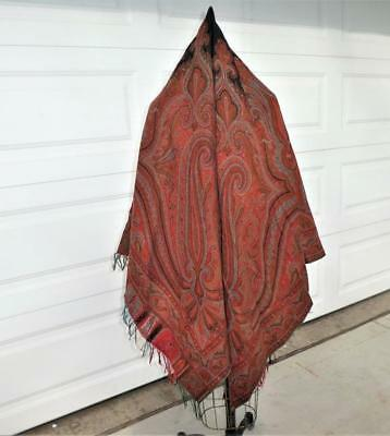 Antique Victorian Hand Loomed Woven Wool Paisley Shawl Throw Tablecloth Nice