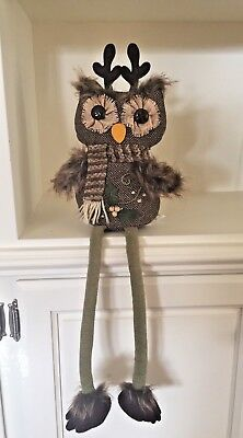 NEW Tag Large SHELF SITTER OWL Button Eyes Pier 1 Imports Fabric Burlap Fur NWT