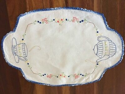Sweet vintage linen embroidered Teacup Teapot Centrepiece Doily Tray Cloth Exc