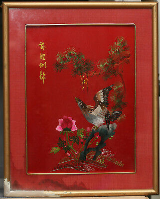 Antique Chinese Hand Embroidered Picture In Wooden Frame Circa 1930s