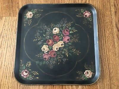 Vintage French Country Tole Toleware Painted Roses Painting Tray