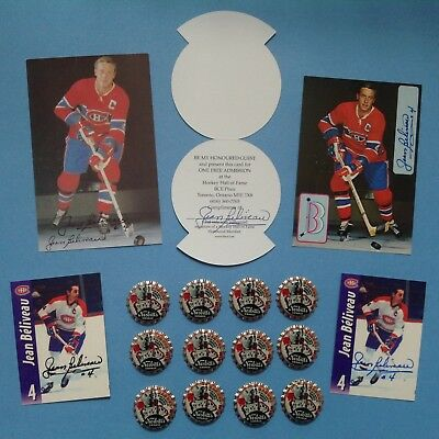 (5) JEAN BELIVEAU Autograph Canadiens Lot + (12) 1970s Nesbitt's Bottle Caps