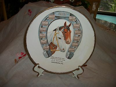 1913 Leechburg PA Horses Calendar Plate with Horseshoe from JC Nolf Trade Store