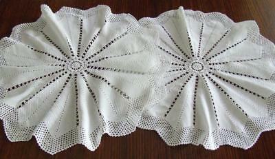 Two Lovely Matching White Hand Crocheted Vintage Table Centres