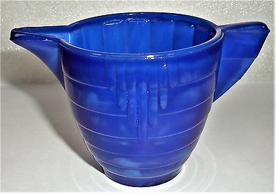 Akro Agate Child Tea Set Large Concentric Ring/Disc & Panel Royal Blue Teapot