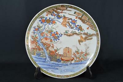 K1596: Japanese XF Old Imari-ware Hawk Bird Flower pattern BIG PLATE/Dish