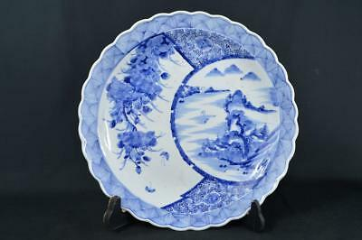 K1592: Japanese Old Imari-ware Flower Landscape Arabesque pattern BIG PLATE/Dish