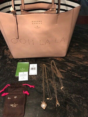 KATE SPADE New York Lot of 4 OOH LA LA Handbag, Earrings, 2 Necklaces Lge Owl!