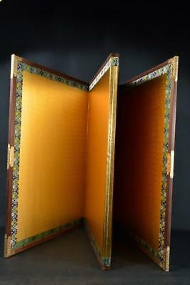 K1571:Japanese Wooden Paper GOLD FOLDING SCREEN Byobu Portable partitions