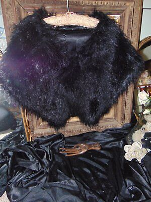 Stunning Vintage Satin Lined faux Fur Wrap/Stole Luxurious Opulence Burlesque
