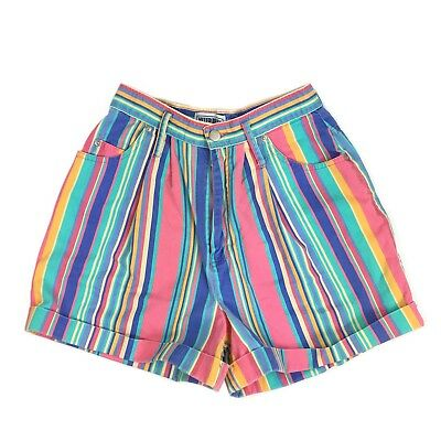 Vtg USA 90's Grunge Hip Hop Multi Colored Striped High Waisted Shorts Size 9