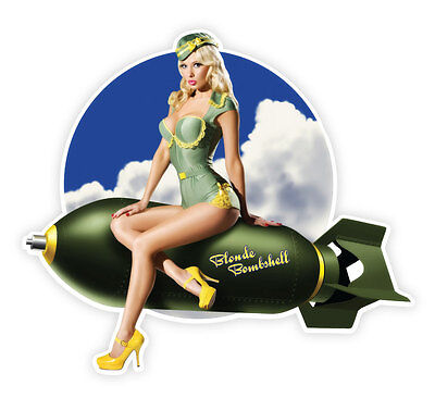 """Pin up pinup pin-up sexy retro girl Blonde Bombshell sticker decal 5"""" X 4"""""""
