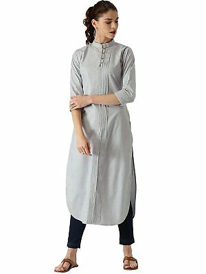 Indian Women's Cotton Straight Fit Long Kurta Casual Wear Side Pleated Front