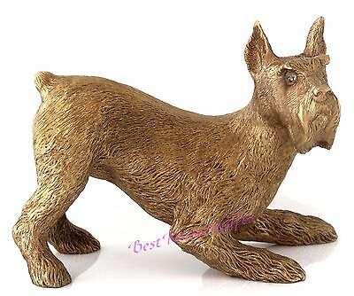 Schnauzer Bronze Sculpture Russian Art Dog Statue Animal Figurine 5.1""