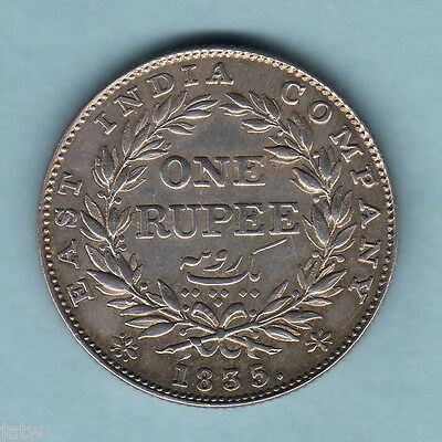 India. 1835 One Rupee.. (Bombay Mint) Without initials.. Much Lustre.   aUNC/gEF