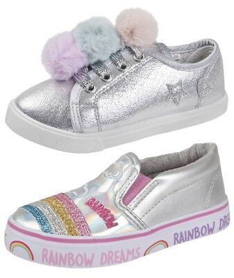 Buckle My Shoe Metallic Glitter Pom Pom Rainbow Pumps Trainers Party Shoes Size