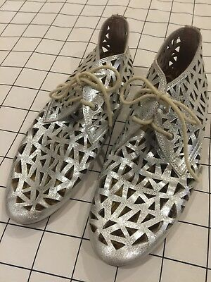 Radical Yes Silver Smiley Smile Leather Laser Cut Shoes Size 38