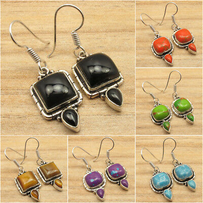 925 Silver Plated Natural Gemstone Option Earrings ! Ancient Style Gift