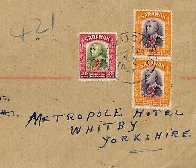 GAP47 1947 SARAWAK BMA FRANKING Kuching Registered Commercial Cover Whitby Hotel
