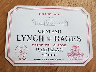 Étiquette de vin Chateau Lynch Bages 1950