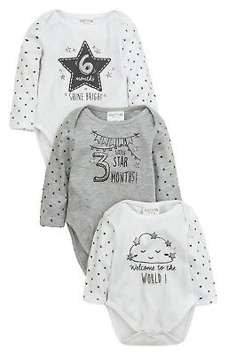 3 Pack Baby Boys Girls Milestone Bodysuits Vests Baby Grows New Baby Shower Gift