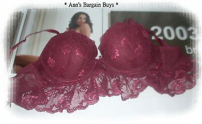 H & M Intimates-Ladies Size 14B-Sexy-Lace Covered-Longline-Body Bra-Maroon