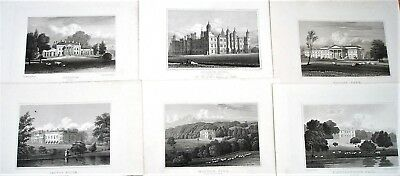 6 x Stately Homes of Gt Britain - Engravings after John Preston Neale - c1830