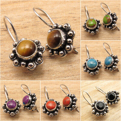 925 Silver Plated Real TIGER'S EYE & Other Gemstone Variation ART Earrings