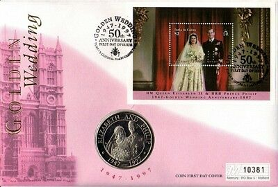 Turks & Caicos Islands 1997 Golden Wedding Coin Limited Edition First Day Cover