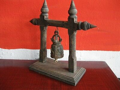 Antique Bell Buddha Thai Style Rare Temple Hanging Home Decor Collectible Gift