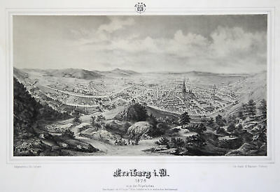FREIBURG Original Lithografie J. Lerch 1876